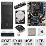 MSI 970A-G43 AMD 970 AM3+ Motherboard and AMD FX-6100 3.30 GHz Six Core AM3+ Unlocked CPU and Thermaltake CL-P0503 70mm CPU Cooler and Patriot Viper Xtreme 4GB Desktop Memory Module and Toshiba Bundle