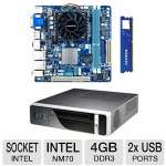 Gigabyte Intel NM70 Motherboard and ADATA Premier Srs 4GB DDR3 Desktop Memory Module and HEC 8K07 Mini ITX Case w/ 200W PSU Bundle