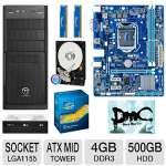 "Gigabyte GA-H61M-S1 Intel H61 Express Motherboard and Intel Core i3-3220 Processor and Kingston 4GB (2 x 2GB) DDR3 HyperX Blu Memory Kit and WD Blue 500GB Sata 3.5"" Desktop Hard Drive and LG 24 Bundle"