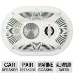 "BAZOOKA MAC6903W White Marine Coaxial Speaker (6"" x 9"")(Pair)"