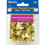 BAZIC Brass (Gold) Thumb Tack (200/Pack) (Case of 24)