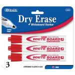 BAZIC Red Chisel Tip Dry-Erase Markers (3/Pack) (Case of 12)