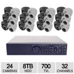 Feel Safe 32CH 24 Cam 960H 8TB DVR Kit - 8TB HDD, 12x White Dome Cams, 12x Grey Dom Cams, 700TVL, 100ft cable, IR Range 82-98ft, Weatherproof - ED7832HD-24TVL7008TB