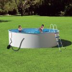 Swim Time Presto 24-ft Round 52-in Deep Metal Wall Swimming Pool Package - NB2024