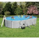Swim Time Samoan 12-ft x 24-ft Oval 52-in Deep 8-in Top Rail Metal Wall Swimming Pool Package - NB3448