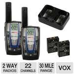 Cobra MicroTalk CXR825 FRS Radio - Up to 30 Mile Range, 22 Channels, VOX, 10 Channel Memory, Auto Squelch, Pair