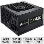 Corsair CX430 V2 Series CP-9020046-US 430W Power Supply -  80 Plus Bronze, single +12V Rail, AC Input 90~264V, ATX, 120mm Fan
