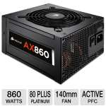 Corsair AX860 CP-9020044-NA 860W Power Supply - 80+ Platinum, Zero RPM, Modular