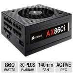 Corsair AX860i CP-9020037-NA 860W Power Supply - Modular, 80+ Platinum, 140mm Double Ball-bearing Fan, Active PFC 