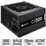 Corsair CX500 V2 CX Series CP-9020047-US 500W Power Supply - 80 Plus Bronze, 120mm Fan, Active PFC, 90~264V Input, Supports Full Tower Cases, Single +12V Rail