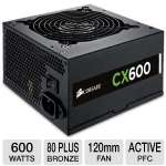 Corsair CX600 V2 CX Series CP-9020048-US 600W Power Supply - 80 Plus Bronze, 120mm Fan, Active PFC, 90~264V Input, Supports Full Tower Cases, Single +12V Rail