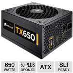 Corsair CMPSU-650TXV2 Enthusiast Series TX650 V2 Power Supply - 650 Watts, ATX, 140mm Fan, 80 Plus Bronze, SLI Ready, Active PFC 