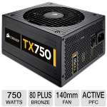 Corsair CMPSU-750TXV2 Enthusiast Series TX750 V2 Power Supply - 750 Watts, ATX, 140mm Fan, 80 Plus Bronze, SLI Ready, Active PFC