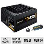Corsair Enthusiast Series TX850 V2 850W 80+ Bronze and Corsair 8GB Voyager Flash Drive Bundle