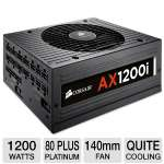 Corsair AX1200i CP-9020008-NA Digital ATX 1200W Power Supply - 80 Plus Platinum, Modular, 140mm Fan, Quiet Cooling, DSP-Controlled, Real-time Voltage Regulation