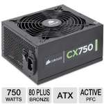Corsair CX Series CX750 CP-9020015-NA 750W Power Supply - ATX, 24 Pin Connector, 80 Plus Bronze, Active PFC, SATA