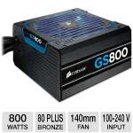 Corsair Gaming Series GS800 CP-9020065-NA 800W Power Supply - 80+ Bronze Certified, 0 RPM, Blue LED, 140mm Double Ball Bearing Fan, Active PFC, Single +12V