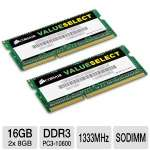 Corsair Value Select CMSO16GX3M2A1333C9 16GB Memory Module Kit - DDR3, 2x8GB, SODIMM, 1333MHz, PC3-10600, 9-9-9-24, 204