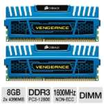 Corsair Vengeance CMZ8GX3M2A1600C9B Desktop Memory Kit - 8GB (2x 4GB), PC3-12800, DDR3-1600MHz, 9-9-9-24 CAS Latency, Intel XMP Ready, Unbuffered