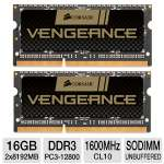 Corsair CMSX16GX3M2A1600C10 Vengeance Laptop Memory Kit - 16GB (2x 8GB), PC3-12800, DDR3-1600MHz, 240-pin SODIMM, CL10, 1.5V, Unbuffered