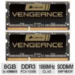 Corsair CMSX8GX3M2A1866C10 Vengeance Laptop Memory Kit - 8GB (2x 4GB), PC3-15000, DDR3-1866MHz, 204-pin SODIMM, 1.5V, CL10, XMP Ready