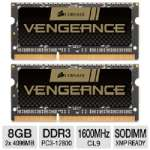 Corsair CMSX8GX3M2A1600C9 Vengeance Laptop Memory Kit - 8GB (2x 4GB), PC3-12800, DDR3-1600MHz, 204-pin SODIMM, 1.5V, CL9, XMP Ready