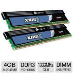 Corsair CMX4GX3M2A1333C8 XMS3 4GB Dual Channel DDR3 RAM -  - PC10666, 1333MHz, 4096MB (2x 2048MB), 240 Pin, Dual-Channel