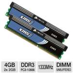 Corsair XMS3 TW3X4G1333C9AG 4GB Dual Channel DDR3 RAM -  - PC10666, 1333MHz, 4096MB (2x 2048MB), 240 Pin