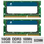Corsair 16GB MAC Memory Kit - DDR3, 2x8GB, 204 Pin, 1600 MHz, PC3-12800, SODIMM (CMSA16GX3M2A1600C11)