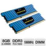 Corsair Vengeance 8GB Desktop Memory Module Kit - Low Profile, DDR3, 2x4GB, DIMM, 1.5V, 240 Pin, 1866MHz, XMP Ready, Blue (CML8GX3M2A1866C9B)