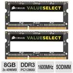 Corsair Value Select CMSO8GX3M2A1600C11 8GB Laptop Memory Module Kit - DDR3, 2x4GB, 1600MHz, 204Pin, Pc3-12800, 1.5V, SODIMM