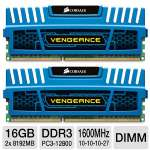 Corsair Vengeance CMZ16GX3M2A1600C10B 16GB Desktop Memory Module Kit - DDR3, 2 x 8GB, Dual Channel, 240 Pin, DIMM, 1.5V, PC3-12800, 1600MHz, XMP Ready