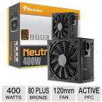 SolidGear 400W Power Supply - ATX, 80+ Bronze, Silent 120mm Nano Bearing Fan, Single +12V Rail, Active PFC (SDGR-400BR)