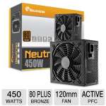 SolidGear 450W Power Supply - ATX, 80+ Bronze, Silent 120mm Nano Bearing Fan, Single +12V Rail, Active PFC  - SDGR-450BR