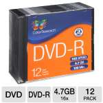 Color Research Slim Jewel Case DVD-R 12-Pack - 12-Pack, 16X, 120 mins, 4.7GB