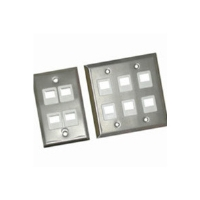 Cables To Go 37095 Multimedia Keystone Wall Plate - 3-Port, Single Gang, Stainless Steel