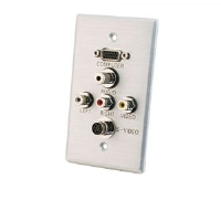 Cables To Go 40499 Wall Plate - HD15 VGA, S-Video, Composite Video, Stereo Audio, Brushed Aluminum