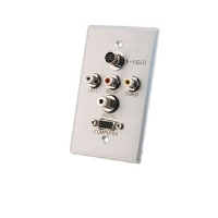 Cables To Go 40500 Single Gang Wall Plate - HD15 VGA, 35mm,S-Video, Composite Video, Stereo Audio, Brushed Aluminum
