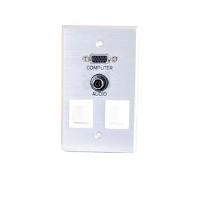 Cables To Go 40544 Single Gang Wall Plate - HD15, 3.5mm, Keystone