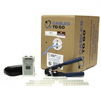 Cables To Go 500ft Cat6 Stranded UTP, 50 RJ45 Connectors, Crimp Tool & Tester-Blue