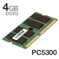 Crucial 4GB PC2-5300 667MHz DDR2 SODIMM Laptop Memory Upgrade - Non-ECC