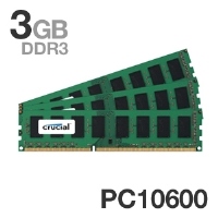 Crucial PC10600 1333MHz 3GB DDR3 Triple Channel Desktop Memory Kit - 3072MB (3 x 1024MB), 240 Pin