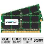 Crucial CT2C4G3S1067M 8GB Mac Memory Module Kit - DDR3, 2x4GB, 1066MT/s, CL7, SODIMM, 204pin