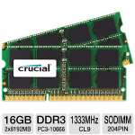 Crucial CT2C8G3S1339M 16GB Mac Memory Modules - 2x 8GB, DDR3, 1333MHz, PC3-10666, CL9, SODIMM, 204pin
