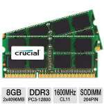 Crucial CT2C4G3S160BM 8GB Mac Memory Modules - 2x 4GB, DDR3, 1600MHz, PC3-12800, CL11, SODIMM, 204pin
