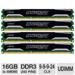 Crucial Ballistix Sport Very Low Profile 16GB Desktop Memory Module Kit - DDR3, 4 x 4GB,  CL9, UDIMM, 240 Pin, 1.35V (BLS4K4G3D1609ES2LX0)