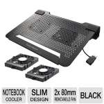 Cooler Master NotePal U2 Notebook Cooler - Aluminum, 2x Removable 80mm Fans, Black