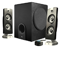 "Cyber Acoustics CA-3602 Platinum Series Speaker System - 2.1 Channel, Dual 2"" Drivers, 5.25"" SubWoofer, 30 Watts Total"