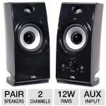 Cyber Acoustics CA-2022RB Stereo Speakers - 12 Watts RMS, AUX In, Volume Control, Pair