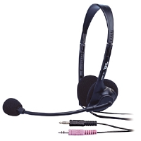 Cyber Acoustics AC-200B Headset with Microphone - Speech Recognition Certified, Noise Canceling Microphone, In-Line Volume Control